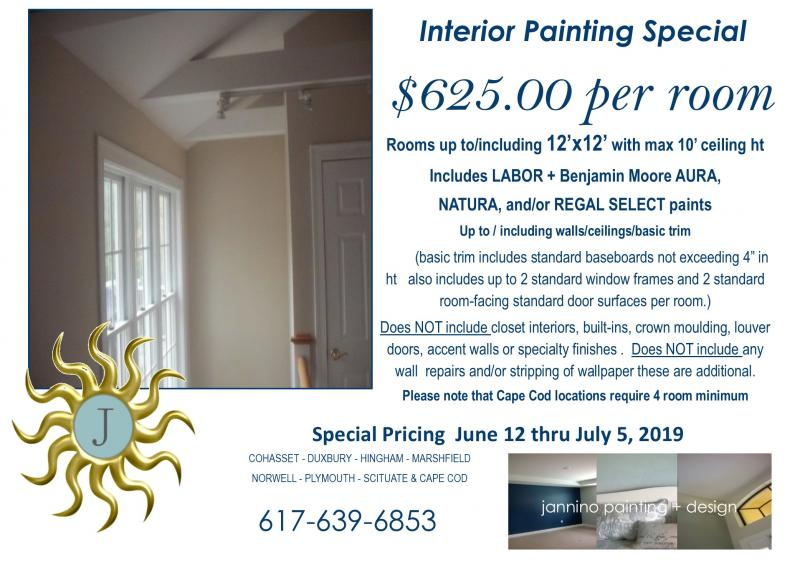 Painting Specials for Brookline Chestnut Hill Cohasset Hingham Duxbury