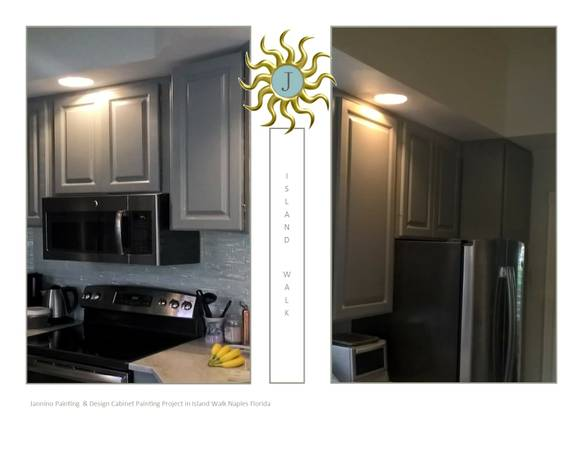 cabinet painting project Naples Florida Island Walk Jannino Painting and Design